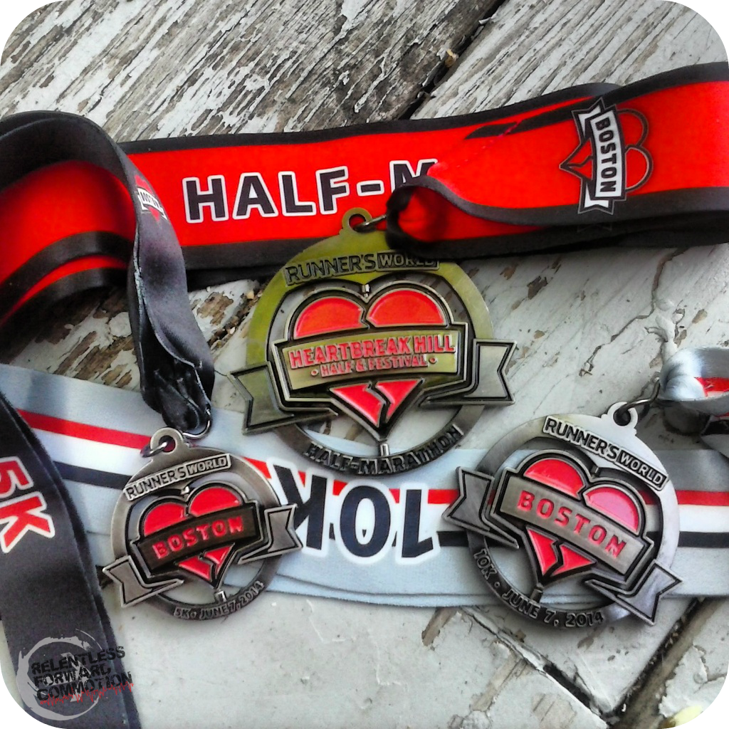 Heartbreak Hill Half Hat Trick Medals