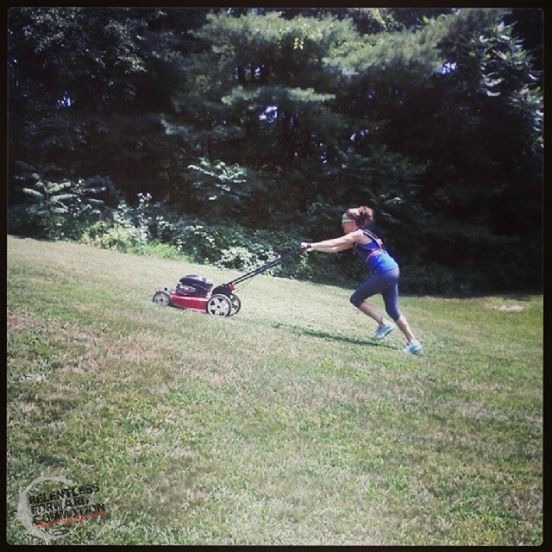 lawn mowing workout