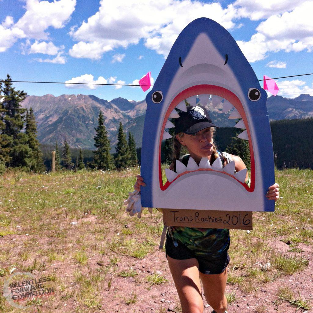 Heather in a shark