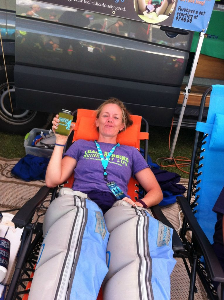 Heather Hart recovering in recovery legs during Transrockies Run 6 day stage race