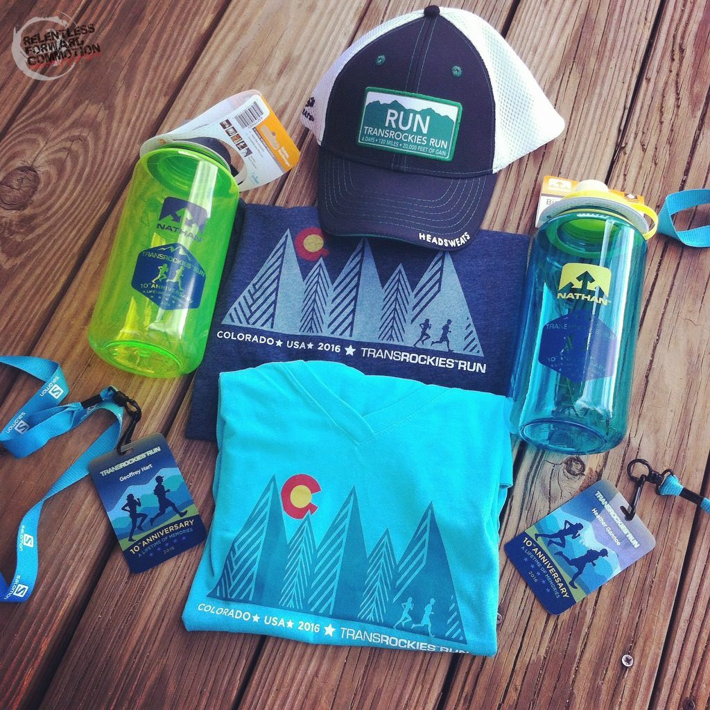 Race day swag from transrockies run 6 day event