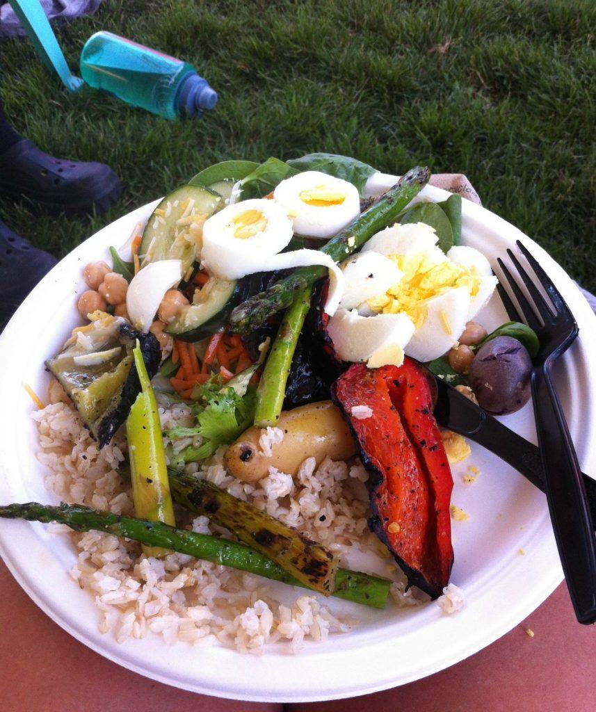 A plate of vegetarian food