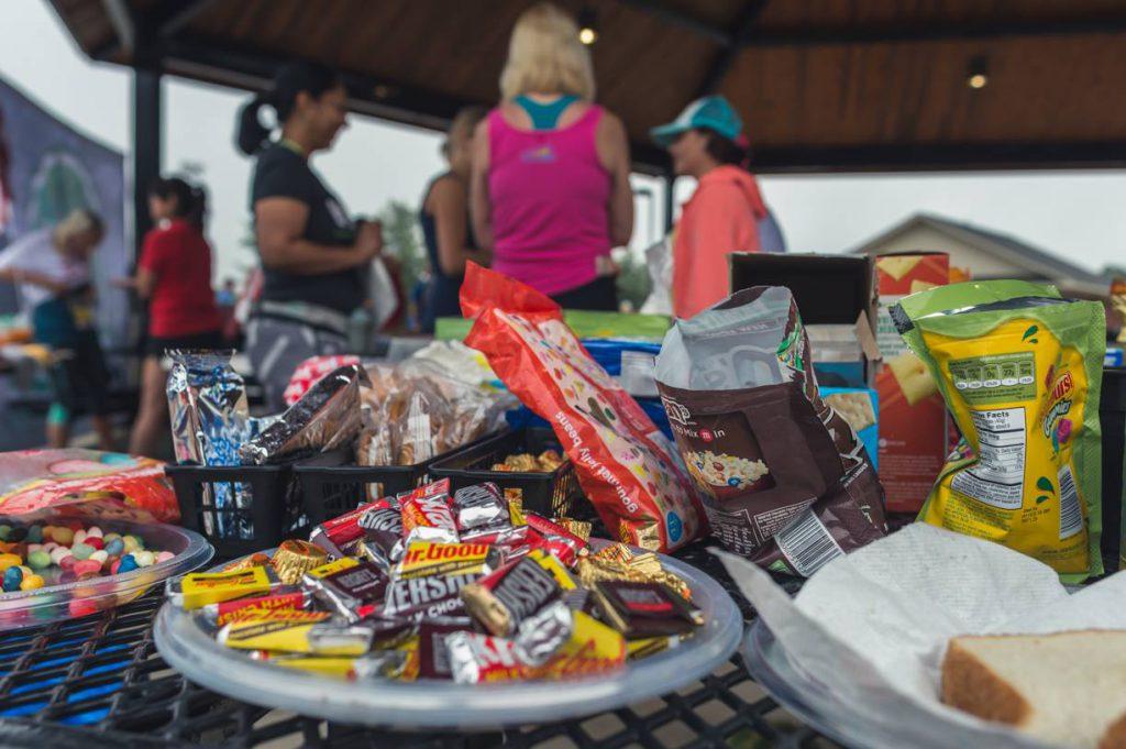 Snacks on an ultramarathon aid station table