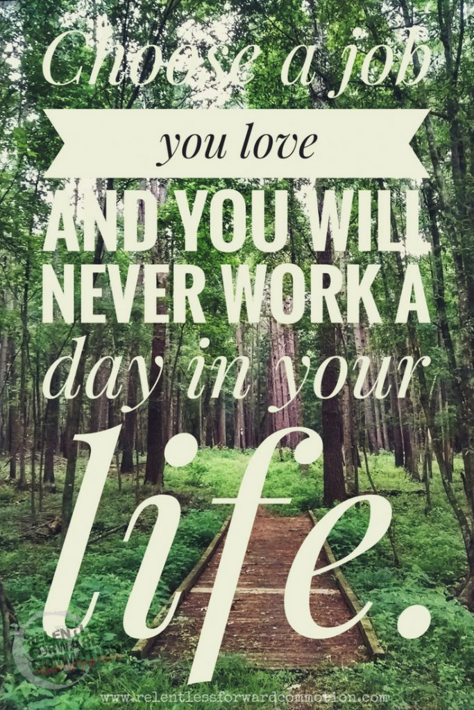 Choose a job you love and you will never work a day in your life.