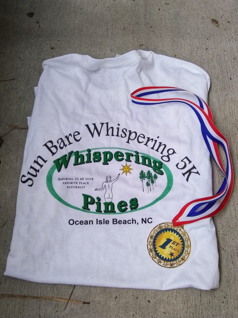 2019 SunBare Whispering 5K (Clothing Optional) shirt and medal