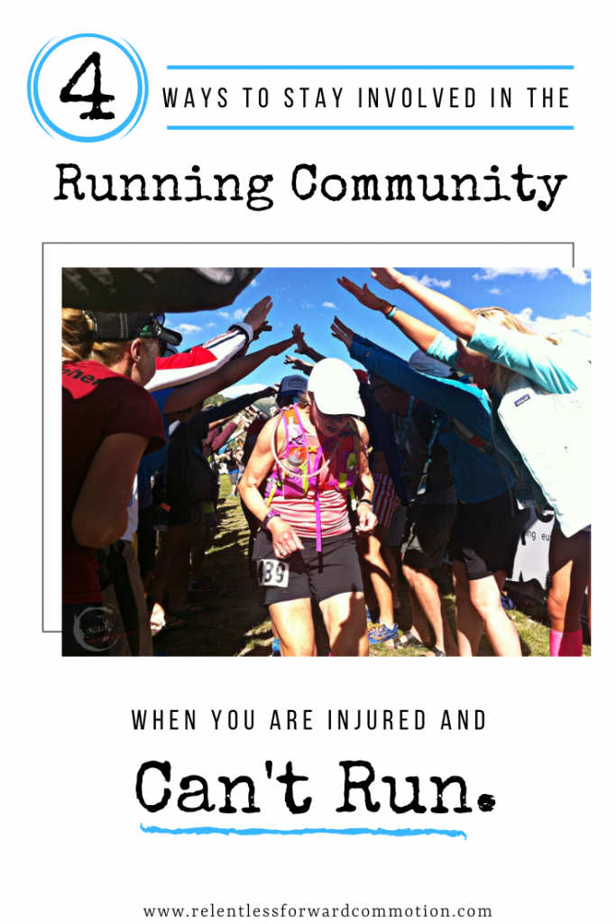 "Finding ways to stay involved in the running community, even when you can't run, will help with all of the negative, and for lack of better terms, ""woe is me"" feelings that often accompany downtime.   Plus, you'll be helping your fellow runners in one form or another - and who doesn't like a little running-world-good-karma? Here are four ways you can stay active in running community, even when you aren't running."