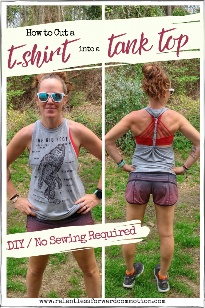 Have lots of race or event t-shirts laying around?  Prefer tanks? Here's how you can cut a t-shirt into a tank top, with no sewing required.