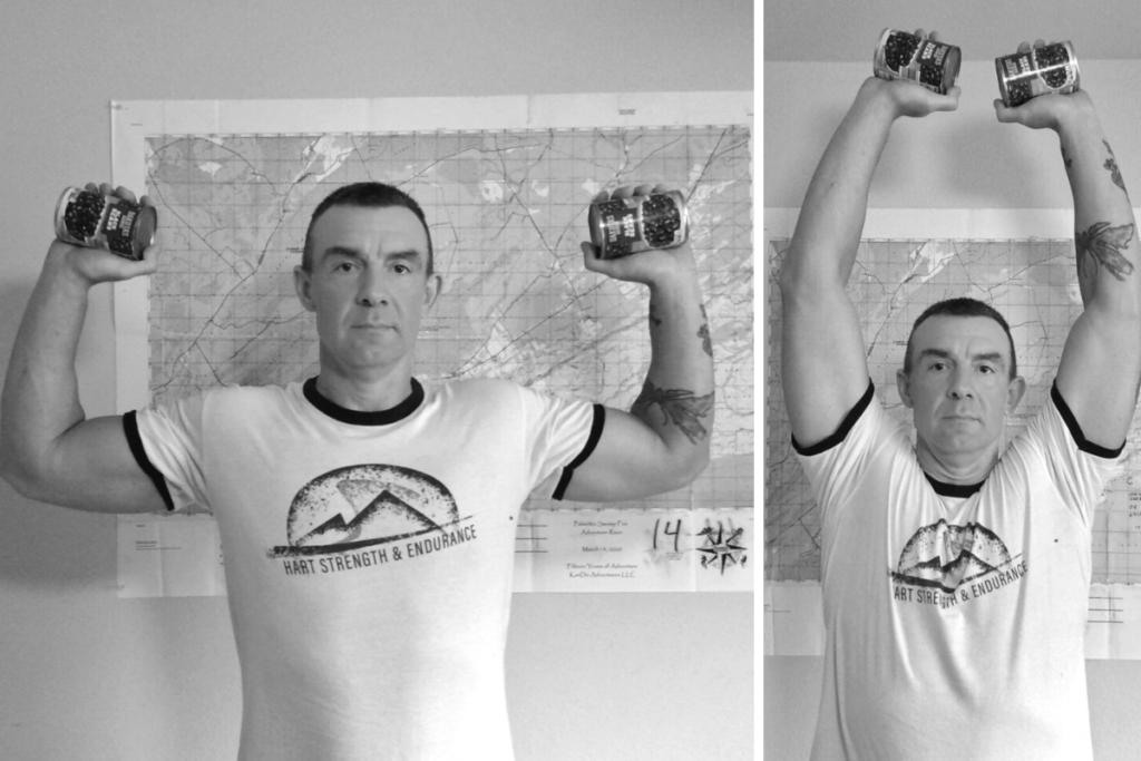 Shoulder press with a can of beans