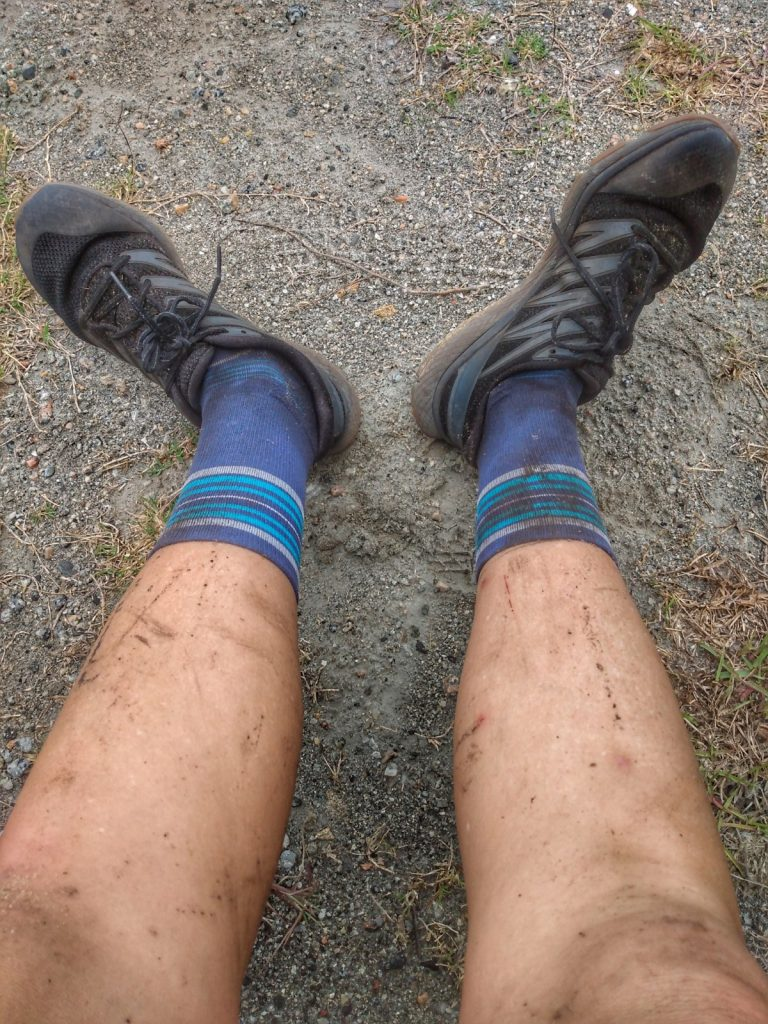 dirt covered legs after The Lockdown Virtual Adventure Race