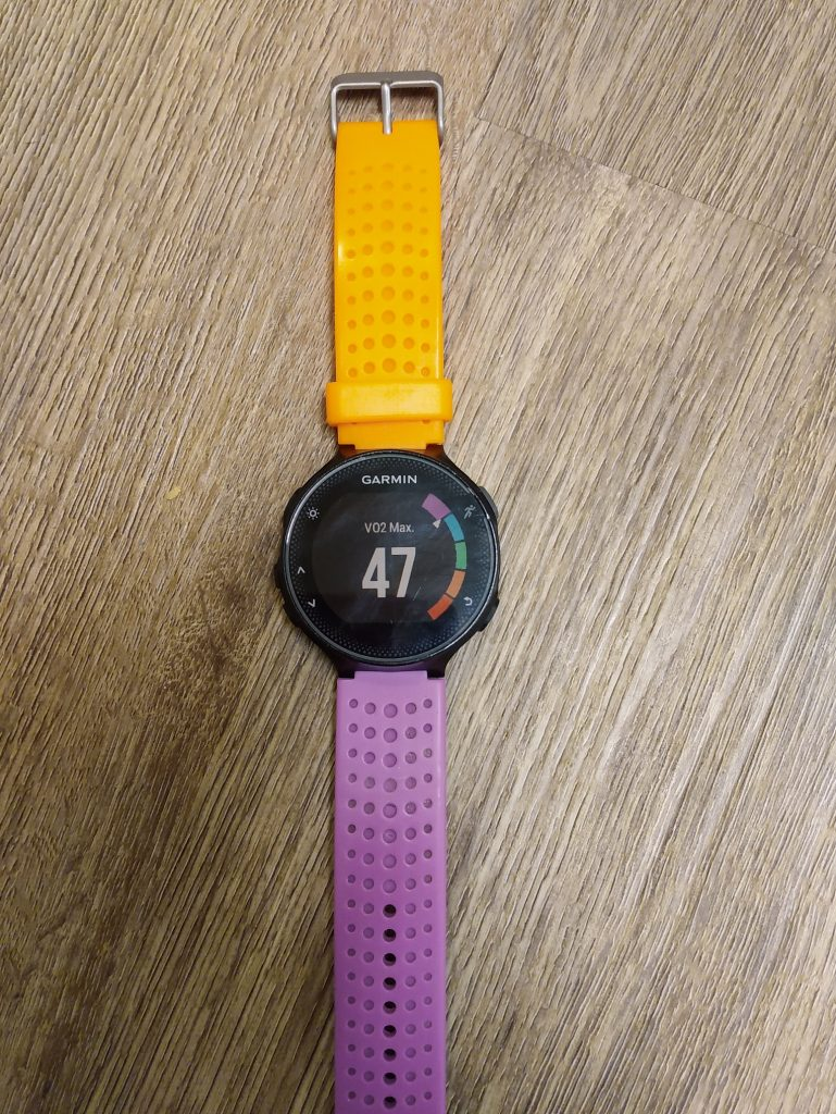 Running GPS watch displaying VO2 Max reading