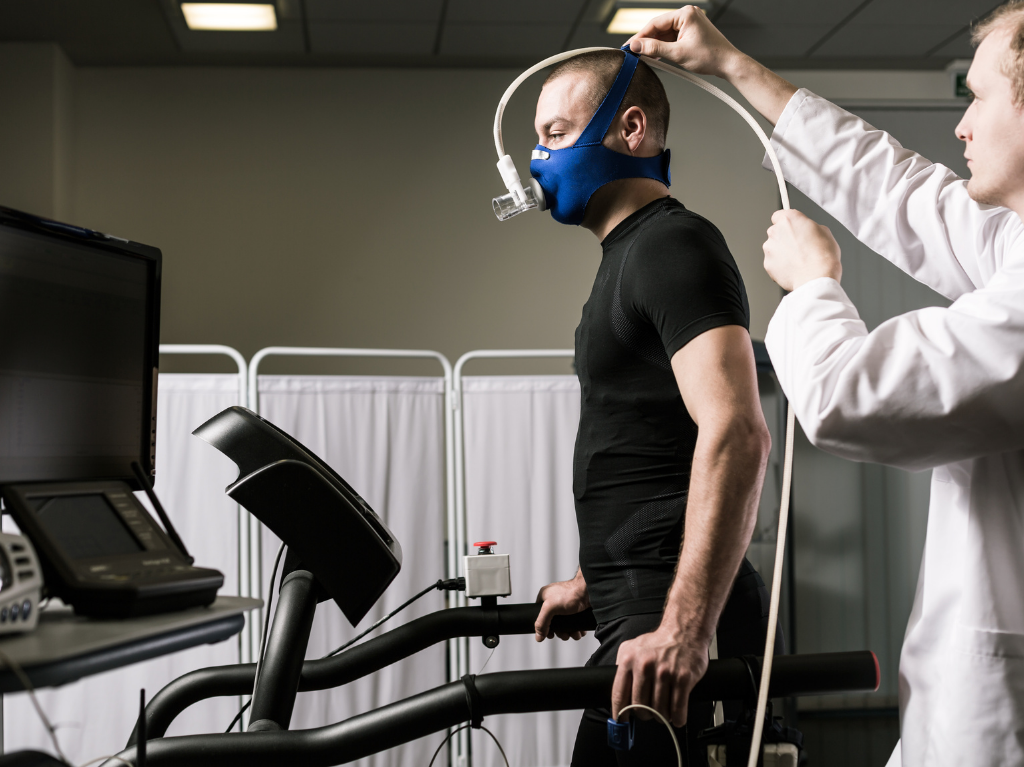 Runner performing a VO2max test in a lab