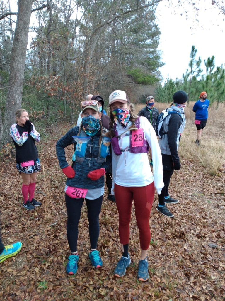 Dinah and Heather Hart at the start of the 2021 Hallucination 6 12 24 hour trail