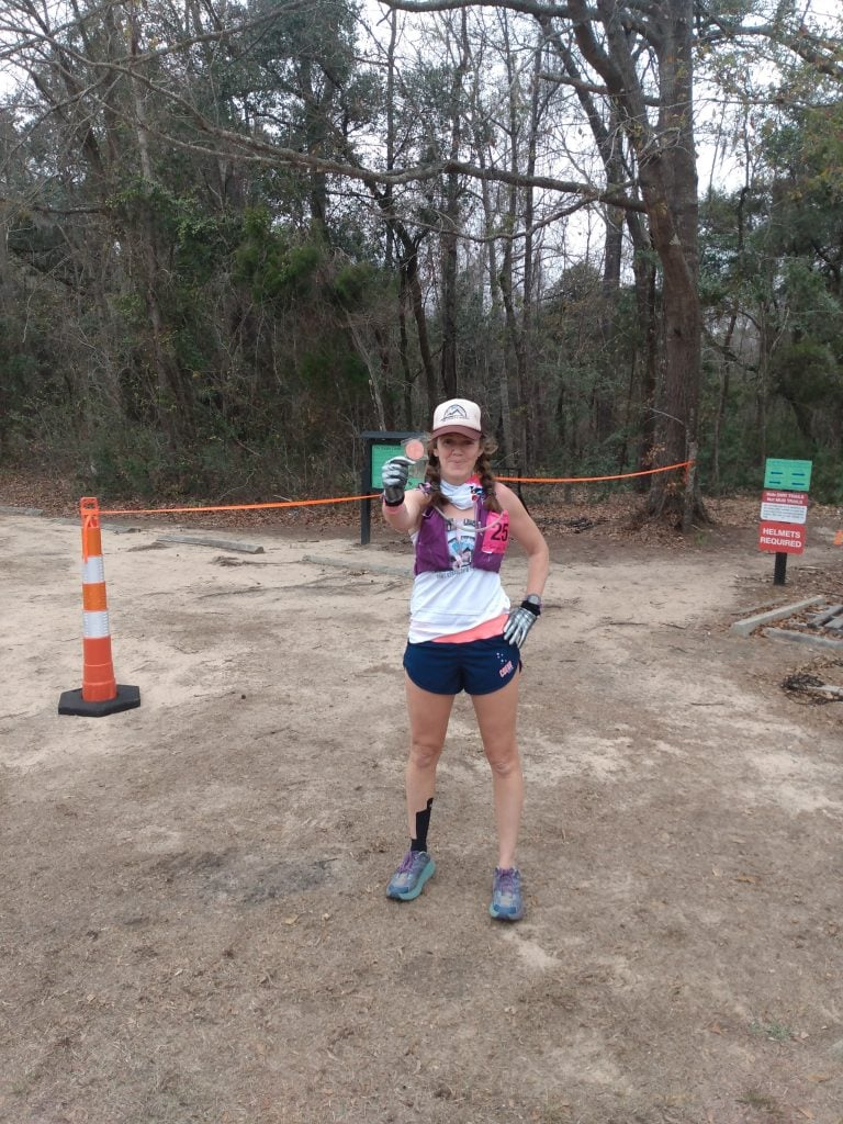Heather Hart at the finish line of the 2021 Hallucination 6 12 24 hour trail