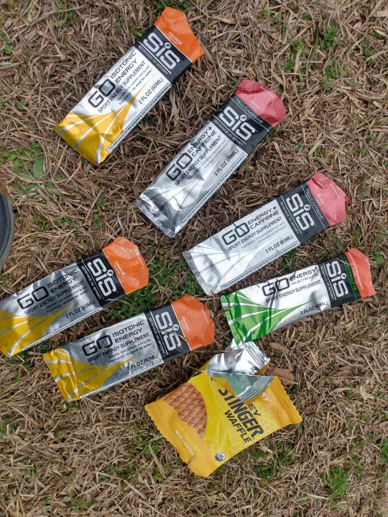 Pile of SIS gel wrappers after a race