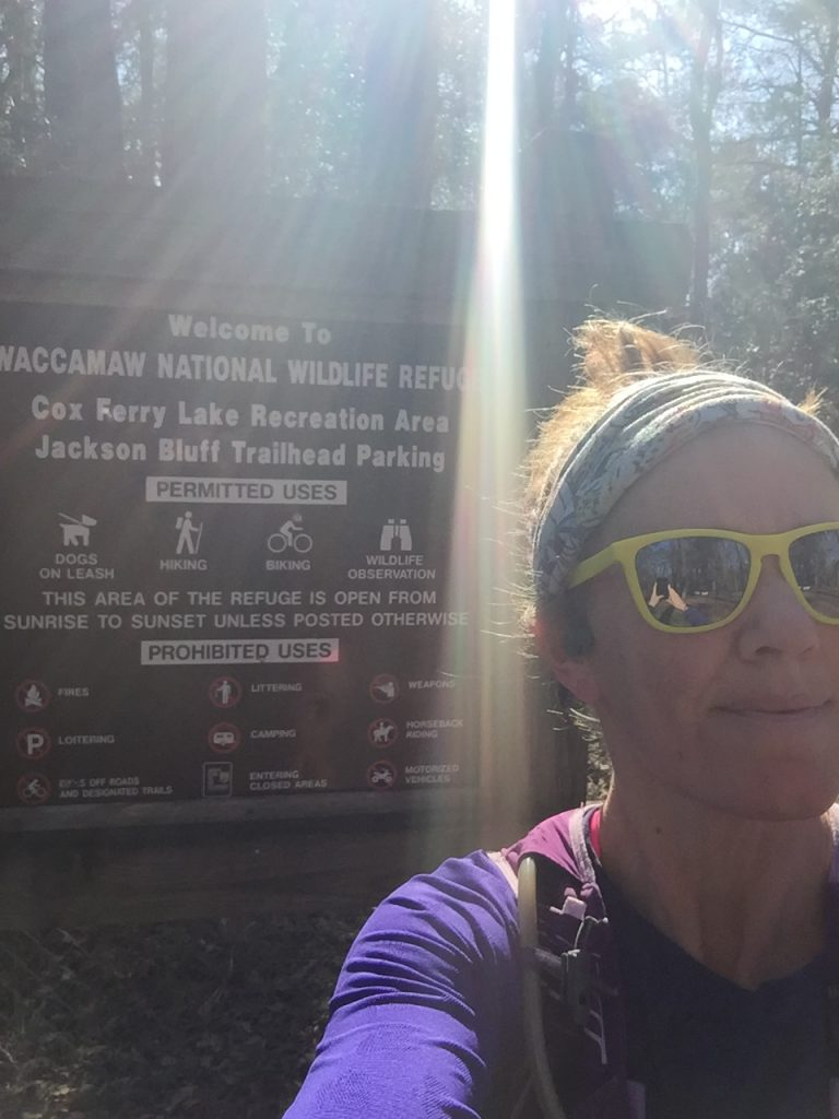 Heather Hart at Waccamaw National Wildlife Refuge Sign for state 1 of the Yeti 24 Hour Challenge