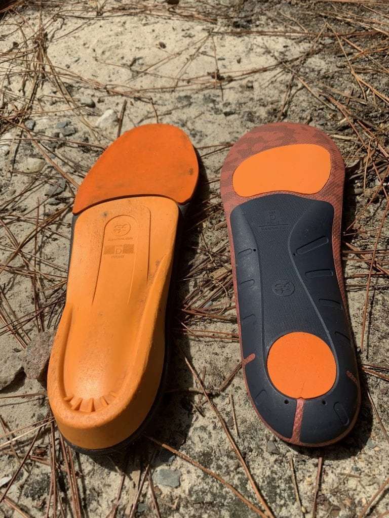 Top and bottom view of Superfeet Orange Insoles
