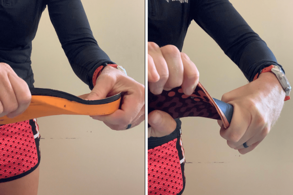 Demonstration of the flexibility of an Orange Superfeet Insole compared to the Superfeet ADAPT Run Insoles
